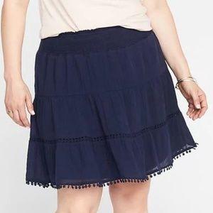 Dresses & Skirts - 3X or 4X navy pom pom tiered skirt